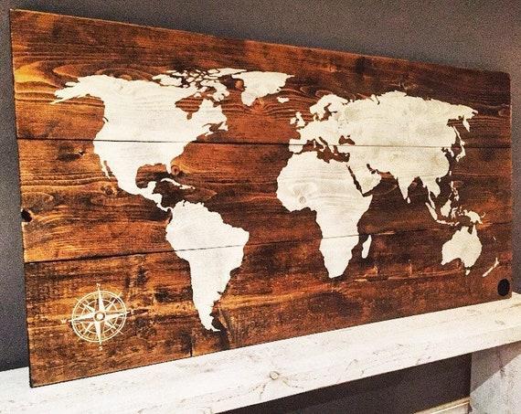 "world map 27""x48"" wood sign travel home decor bedroom living room art gift idea wood wall art boho decor wood wall decor earth"