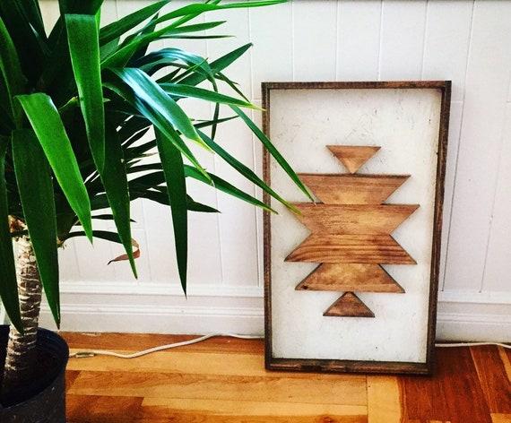 "wall art 25""x15""x2"" geometric wood sign boho design aztec decor travel home decor bedroom wood wall living room gypsy decor reclaimed wood"