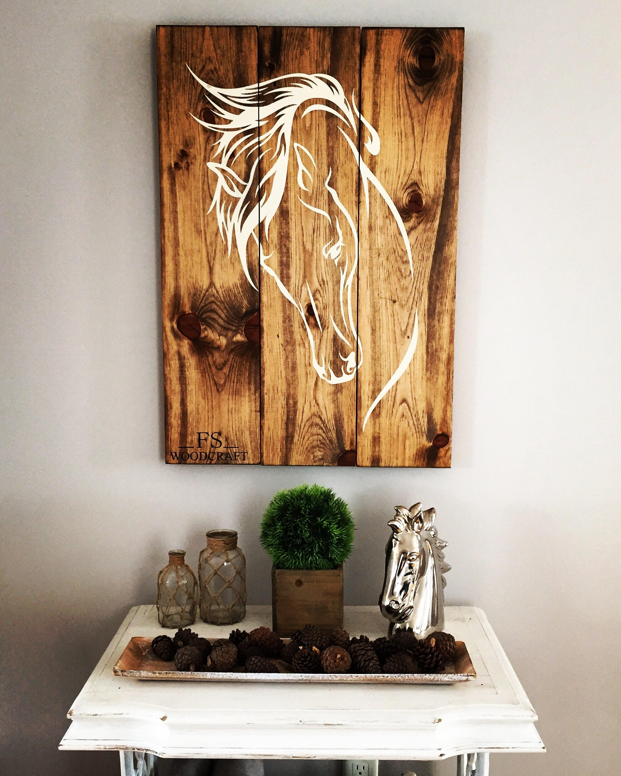 Horse Wood Sign 32x 22 Horse Panting Western Horse Riding Home Decor Bedroom Living Room Cowboy Wood Art Cowgirl Country Music Horse Art
