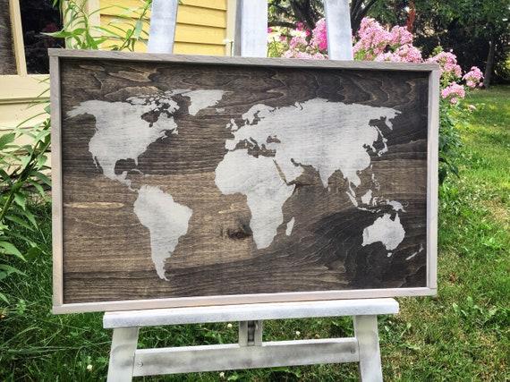 "world map 33""x21""2"" wood sign travel home gypsy decor bedroom living room art gift idea wood wall art boho decor wood wall decor earth"
