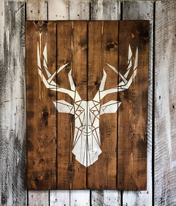 """DEER HEAD wood sign 30""""x 22"""" cottage chalet home decor bedroom living room hunting country art gift idea"""