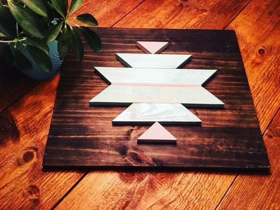 "wall art 18""x15""x2"" geometric wood sign boho design aztec decor travel home decor bedroom wood wall living room gypsy decor reclaimed wood"