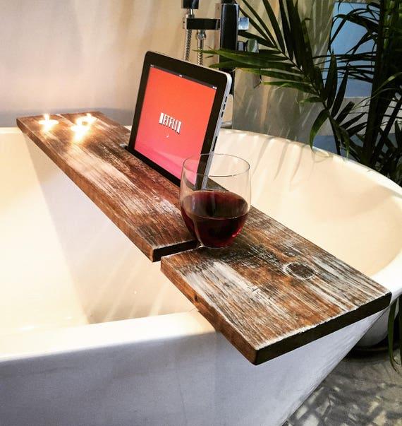 bath tray bathroom decor bath caddy boho wine glass rack ipad iphone candles champagne glass gift idea