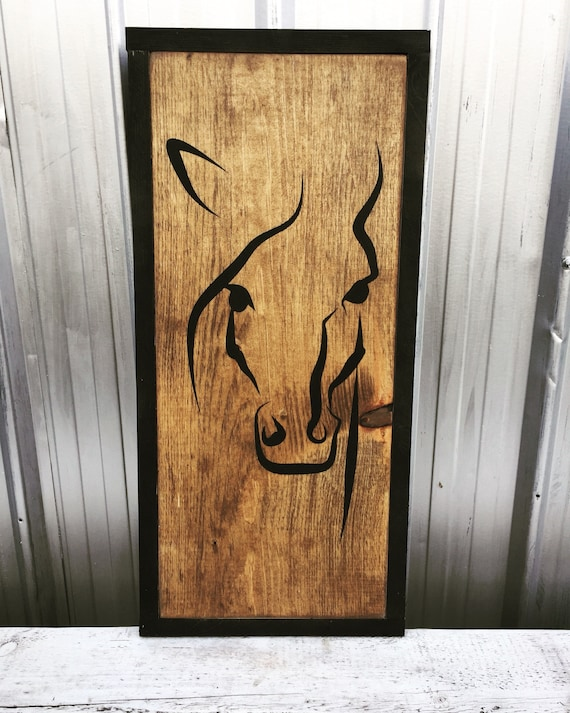 """horse wood sign 23.5""""x 11.5"""" horse panting western farmhouse horse riding home decor bedroom living room cowboy wood art cowgirl country"""