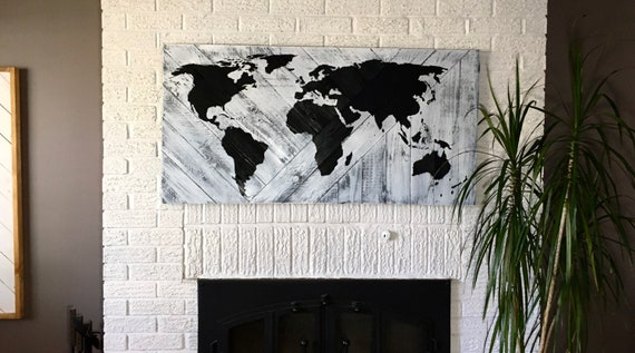 "world map 24""x48"" wood sign travel home decor bedroom living room art gift idea geometric wood wall art boho decor wood wall decor earth"