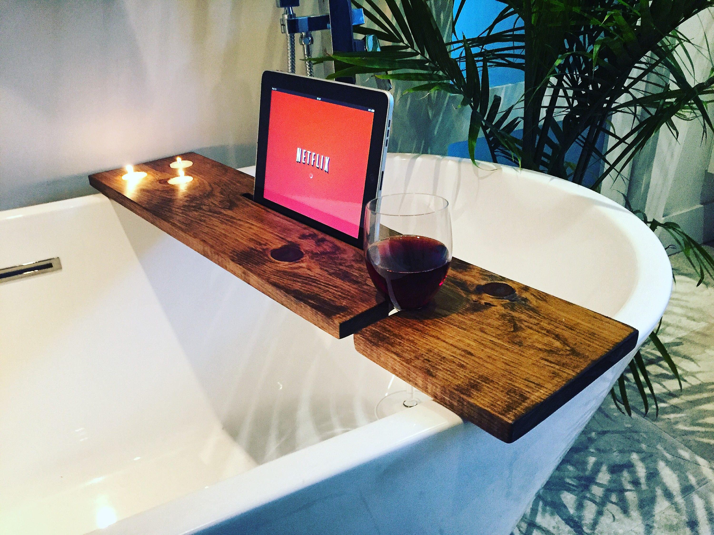 bath tray bathroom decor bath caddy wine glass rack ipad iphone ...
