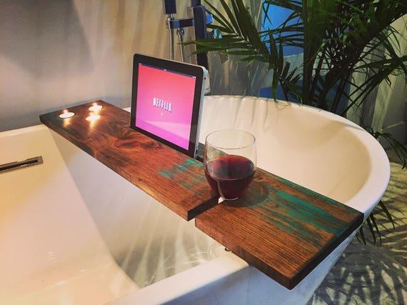 bath tray bathroom decor bath caddy wine glass rack ipad iphone candles champagne glass boho gift idea christmas valentine day