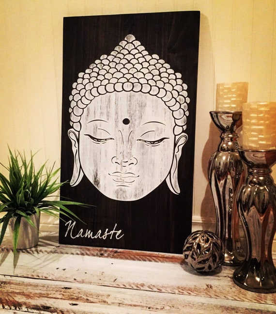 "buddha wood sign 25""x 15""x 1"" zen good vibe namaste meditation travel yoga home decor bedroom boho decor living room wall art gift idea"