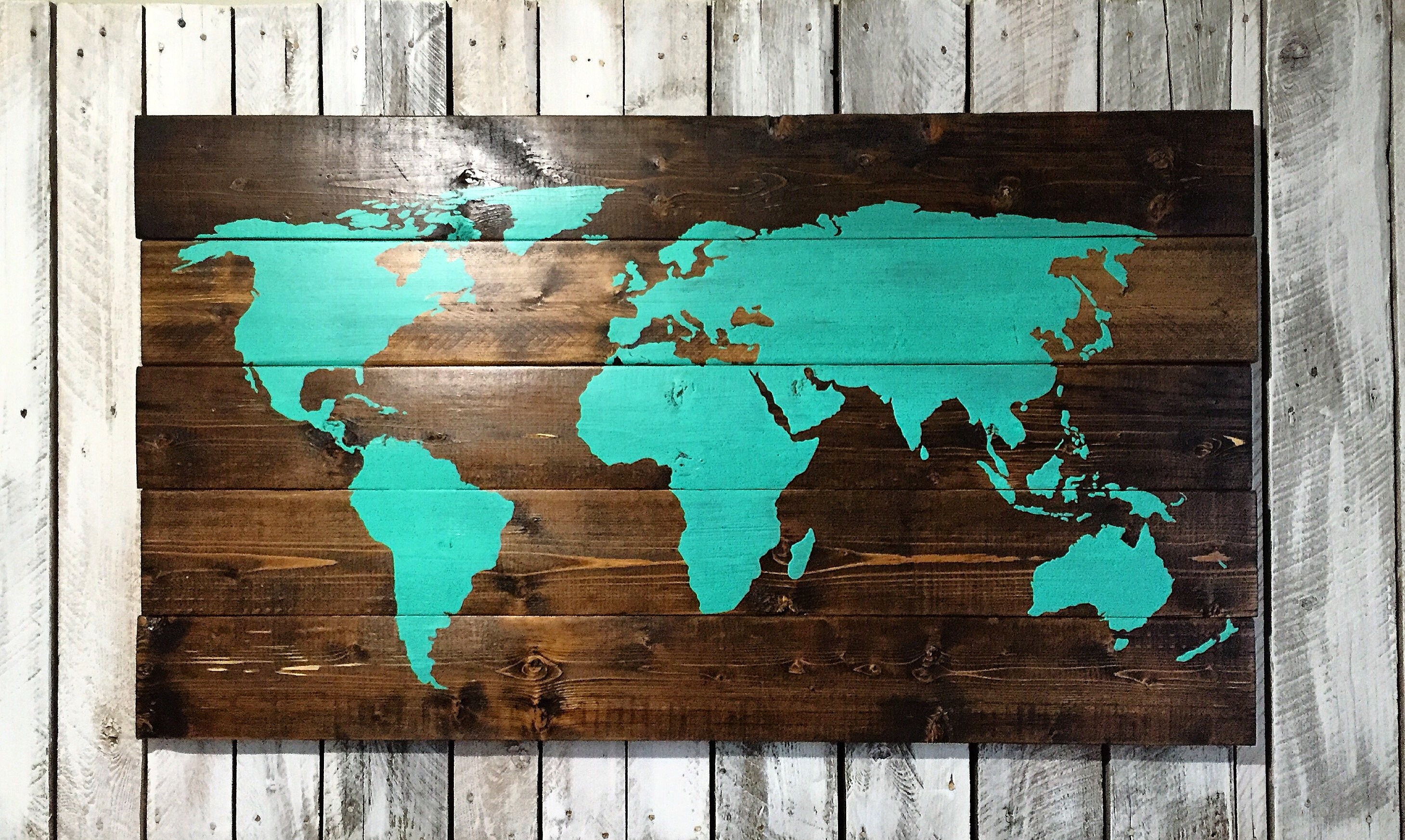 World Map X Wood Sign Travel Home Decor Bedroom Living Room Art - 16x20 world map