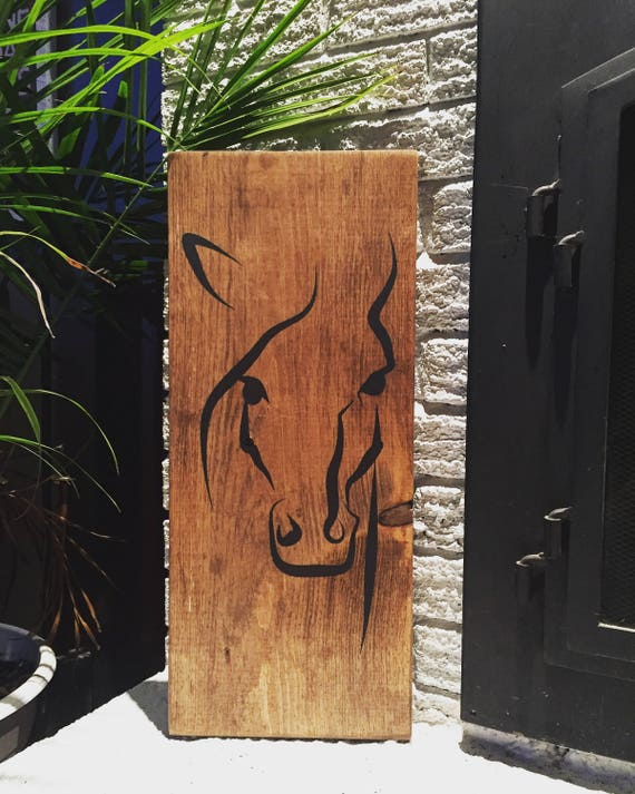 """horse wood sign 22""""x 9.5"""" horse panting western horse riding home decor bedroom living room cowboy wood art cowgirl country music horse art"""