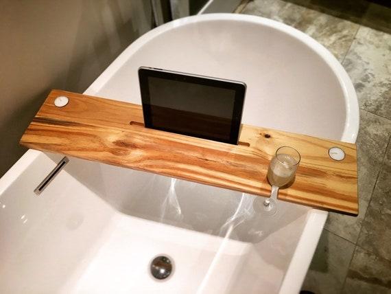 bath tray natural woodbathroom shelf boho decor bath caddy wine glass ipad holder iphone candles holder champagne relax gift christmas