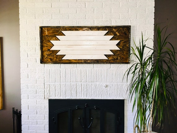 "wall art 46""x19""x2"" geometric wood sign boho design aztec decor chevron home decor bedroom wood wall living room gypsy decor reclaimed wood"
