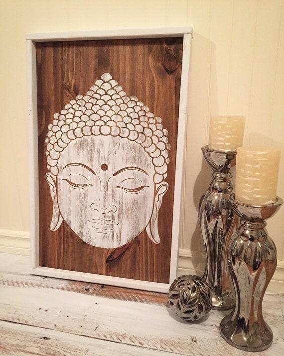 "buddha wood sign 25""x 16""x1.5""zen good vibe namaste meditation travel yoga home decor bedroom boho decor living room wall art gift idea"