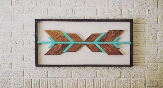 "wall art 34""x17""x3"" geometric wood sign boho design aztec decor chevron home decor bedroom wood wall living room gypsy decor reclaimed wood"