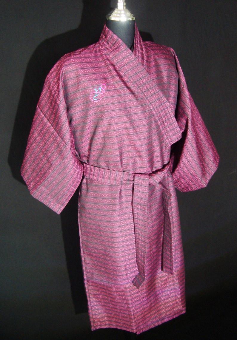 Cotton Thai Yarn Dyed Fabric Bathrobe Purple Color Kimono  3f86b2424