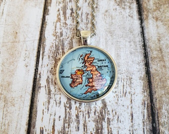 United Kingdom Map Necklace - Great Britain and Ireland  (Brightly Colored)