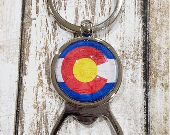 Colorado Flag Map Bottle Opener with Key Ring - Map Gift
