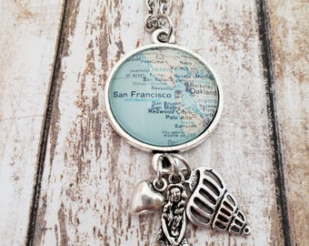 CLEARANCE - San Francisco Vintage-Style Map Necklace with Mermaid & Shell Charms
