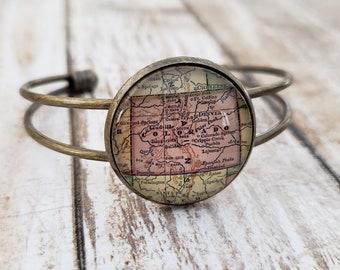 Colorado Antique-Style Map Cuff Bracelet