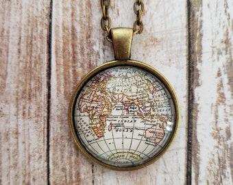 Eastern Hemisphere Antique-Style World Map Necklace