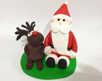 Santa and Rudolf Christmas Cake Topper