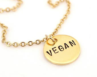 Vegan Necklace, Hand Stamped Necklace, Activist Jewelry, Vegetarian Simple Necklace, Vegan Jewelry