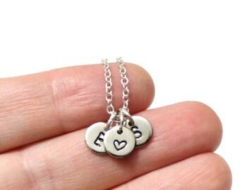Initial Heart Necklace, Initial Necklace, Initials and Heart Necklace, Initials with Heart Necklace, Initials and Heart Sterling Silver