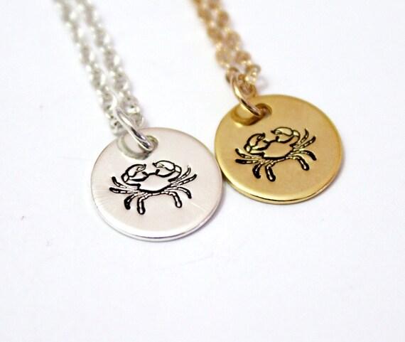 Cancer Zodiac Necklace Gold Zodiac Zodiac Necklaces Zodiac Etsy