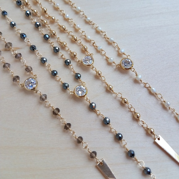 Crystal Chain Lariat Rosary Beaded Choker Spike Rhinestone Charm