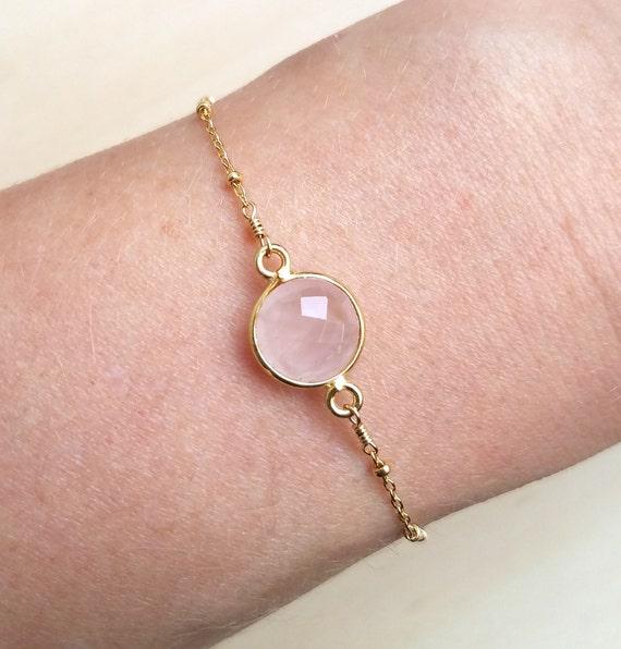 Rose Quartz Stone Chain Bracelet