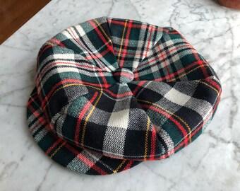 fb1e6b3541d Vintage plaid hat. Newsboy hat. 1970 s hat. Plaid newsboy hat. Unisex hat.  Plaid page boy hat. 70 s hat.