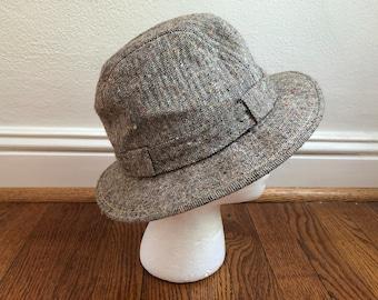 9bbffcbdade Vintage tweed hat. Tweed fedora hat. Detective hat. Men s fedora. VintGs  Irish Crushable hat. Sherlock Holmes hat. 1980 s tweed. Winter hat