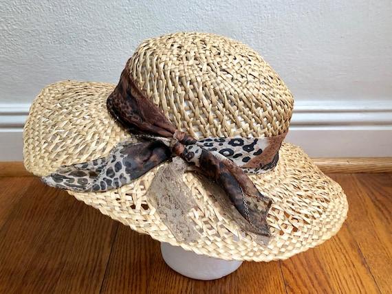 Womens Wide Brim Paper Straw Sun Hat Animal Print Scarf Natural Beige