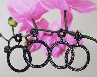 Diamond Crusted Drop earrings, Evening Earrings, Wedding earrings, Diamond Earrings, statement earrings