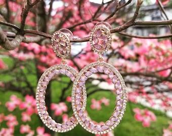 Pink crystal and diamond drop earrings