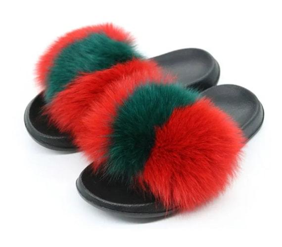 fur slides racoon fur slippers fox fur real fur slides etsy