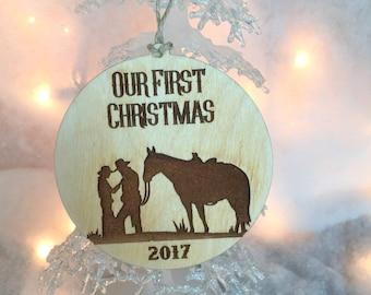 Christmas Ornament,Cowboy and Cowgirl Christmas. First Christmas, Christmas Gift, Stocking Stuffer, Our First Christmas