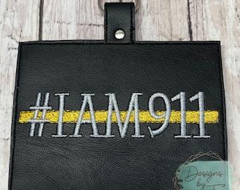Dispatcher #IAM911 Vaccination Card Holder Keychain Thin Gold Line