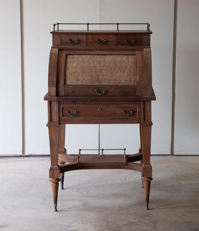 Antique Secretary Desk Etsy >> Antique Roll Top Secretary Desk