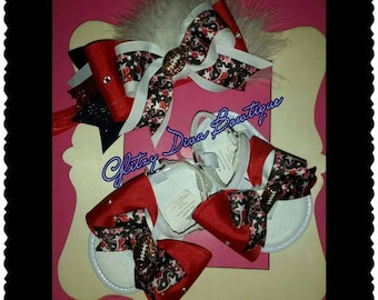 Houston Texans Baby headband and sandal shoes baby football set. 6 to 12 months set