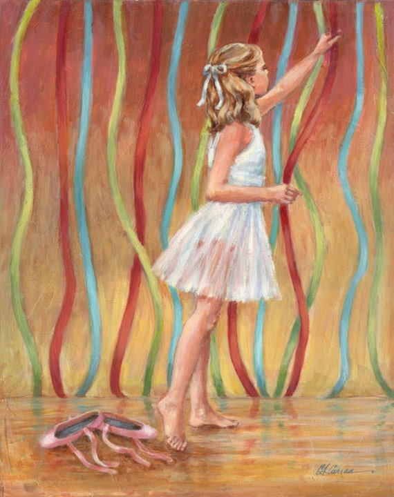 "Before the Recital by Carol Ann Curran - Fine Art Print - Single White Mat 11"" x 14"" (Image Size 8"" x 10"") - Ballet"