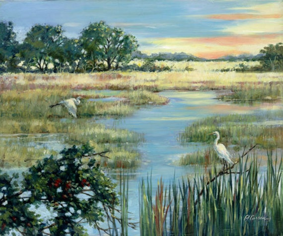 "Lowcountry Morning by Carol Ann Curran - Fine Art Print - Single White Mat 11"" x 14"" (Image Size 8"" x 10"") - Charleston, SC"