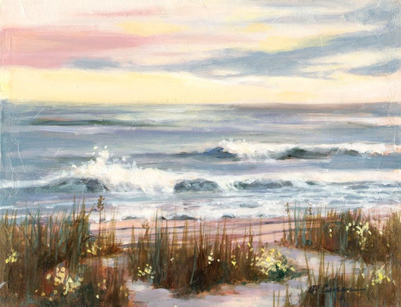 "Sunset Breakers by Carol Ann Curran - Fine Art Print - Single White Mat 11"" x 14"" (Image Size 8"" x 10"") - Beach, South Carolina"