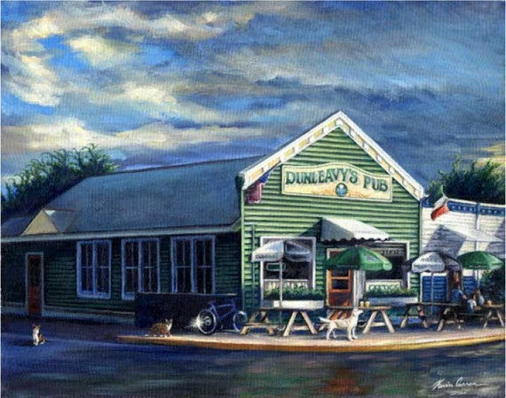 "Dunleavy's by Kevin Curran - Fine Art Print - Double Matted to 11"" x 14"" (Image Size 8"" x 10"") - Dunleavy's Irish Pub, Sullivan's Island SC"