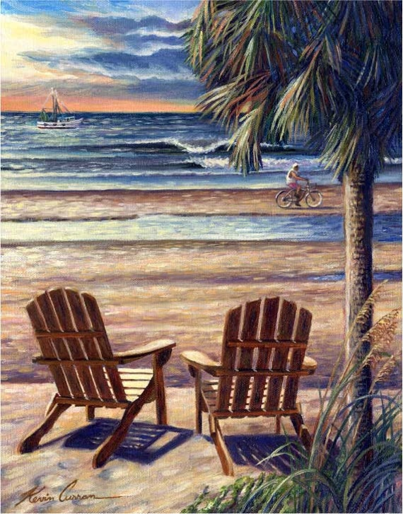 "Front Row Seats by Kevin Curran - Fine Art Print - Single White Mat 11"" x 14"" (Image Size 8"" x 10"") - Island Art with Palm Tree- Beach Scene"