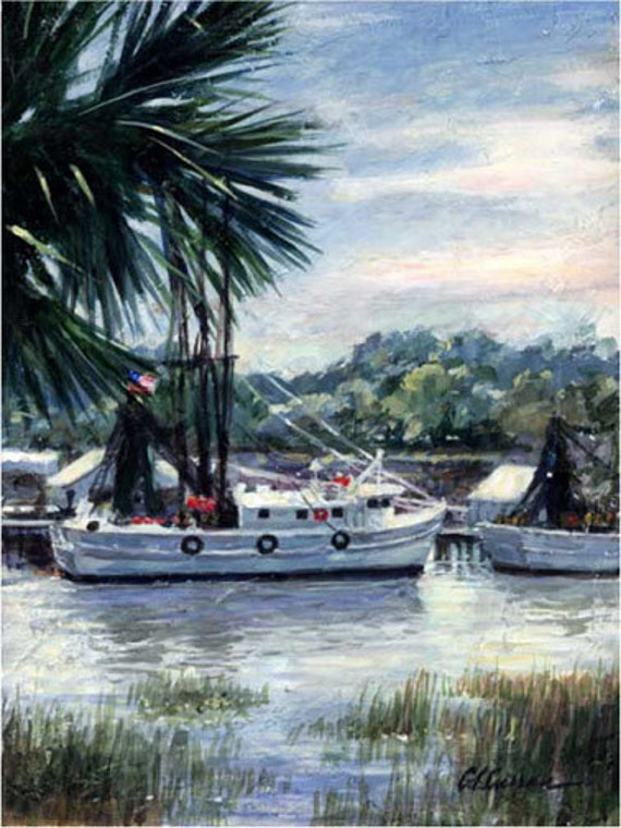 "Shem Creek View by Carol Ann Curran - Fine Art Print - Double Matted to 11"" x 14"" (Image Size 8"" x 10"") - Mount Pleasant, SC"