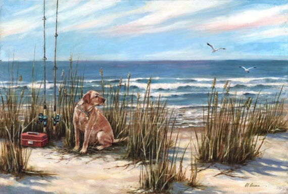 "Salty Dog by Carol Ann Curran - Fine Art Print - Single White Mat 16"" x 20"" (Image Size 11"" x 14"") - golden retriever"