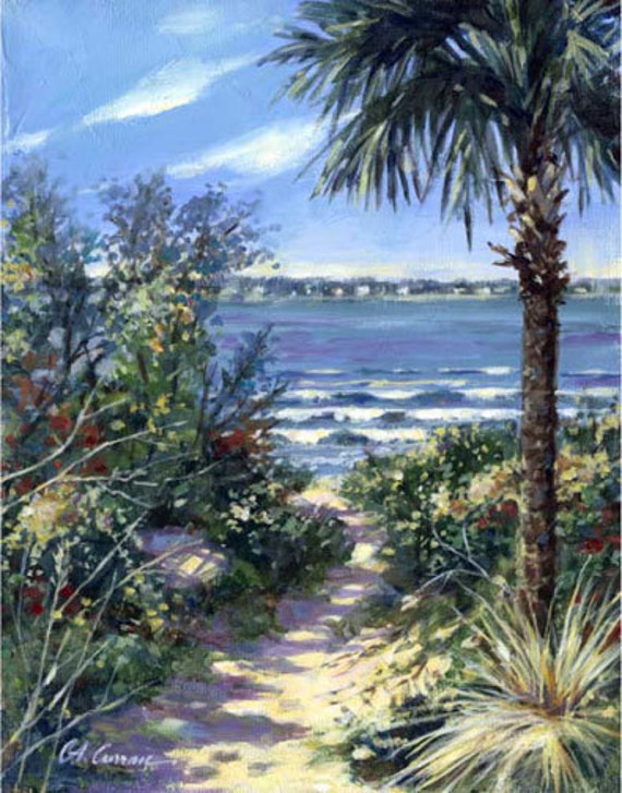 "Palmetto Path by Carol Ann Curran - Fine Art Print - Double Matted to 11"" x 14"" (Image Size 8"" x 10"") - Isle Of Palms, SC"