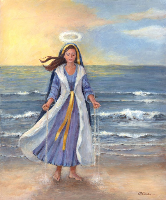 "Star of the Sea by Carol Ann Curran - Fine Art Print - Single White Mat 11"" x 14"" (Image Size 8"" x 10"") - Virgin Mary - Christian Art"