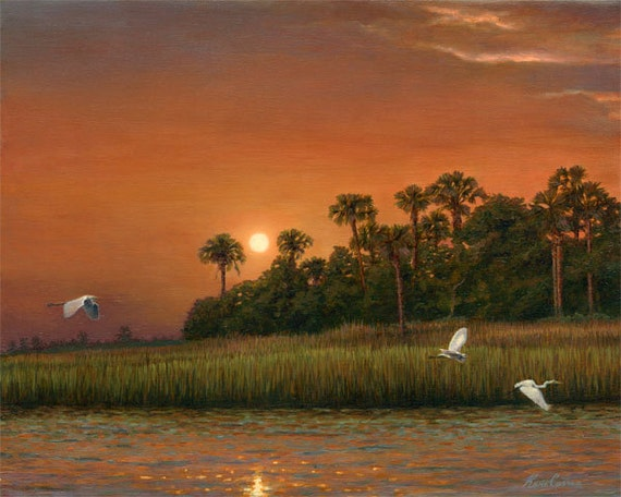 "Slightly Off The Wando by Kevin Curran - Fine Art Print - Double Matted to 16"" x 20"" (Image Size 11"" x 14"") - Ergret, Egrets, Marsh Birds"